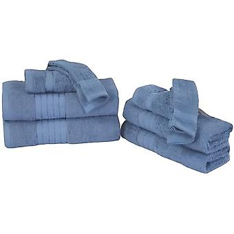 handduk set bomull is blå 8 stycken