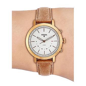 Relógio de quartzo fóssil analógico com pulseira de couro FTW5007