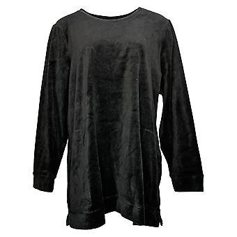 Denim & Co. Women's Top Regular_Velour Long-Sleeve Tunic Black A390299