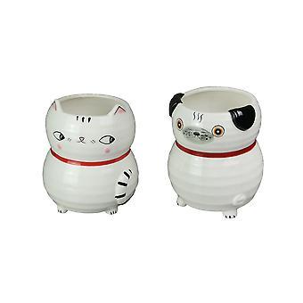 Set of 2 Hand Painted Cat & Dog Ceramic Planters Decorative Succulent Plant Pots