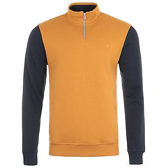 Farah Boundary Quarter Zip Sweatshirt - Gold