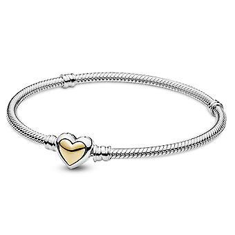 Pandora Domed Golden Heart Clasp Snake Chain Bracelet -23