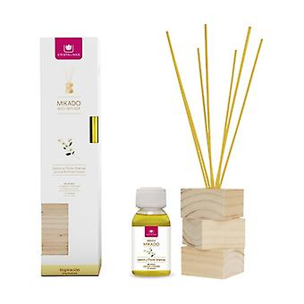 Complete kit natural wood jasmine and white flowers canes + essence + wooden base 2 units