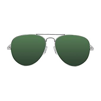 Ocean Sunglasses Banila Aviator, Metal Sunglasses, Frame: Silver, Lenses: Greens, 18110.4