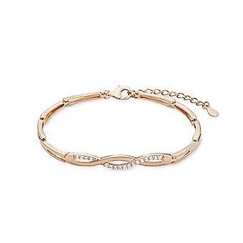 Amor - Kvinners armbånd, sølv 925 rosegull belagt med justerbare hvite zirkoner 17 + 3 cm - 539210