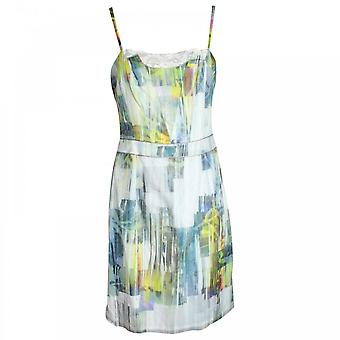 Apanage Blue Printed Dress With Lace Detail