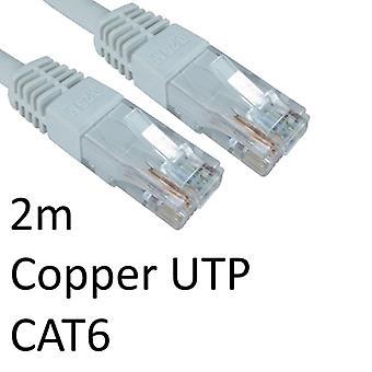 RJ45 (M) à RJ45 (M) CAT6 2m Blanc OEM moulé Boot Cuivre UTP Câble réseau