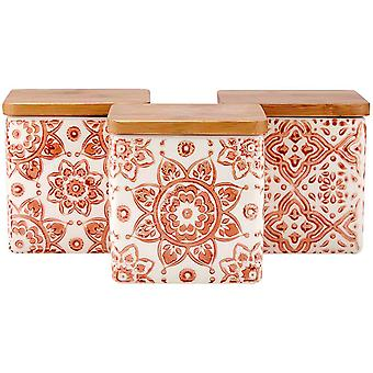 Ladelle Amore Terracotta Set of 3 Canisters