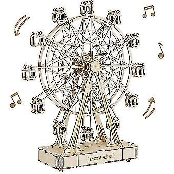 232pcs Rotatable Diy 3d Ferris Wheel Wooden Model Building Block Kits Assembly Toy Gift For Children