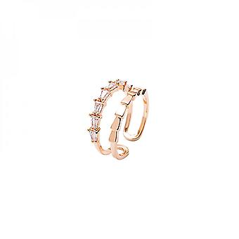 Creative Hollow Out Double Layer Micro Diamond Inlaid Opening Adjustable Rose Gold Ring For Fashion Students