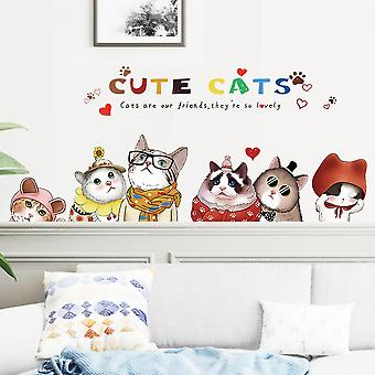 Cute Cats Wall Sticker Wall Decal (size:135cm X 58cm)