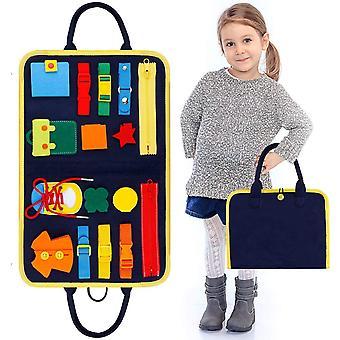 Kleinkinder beschäftigt Board, Montessori Basic Skills Activity Board, Spielzeug anziehen, Spielzeug