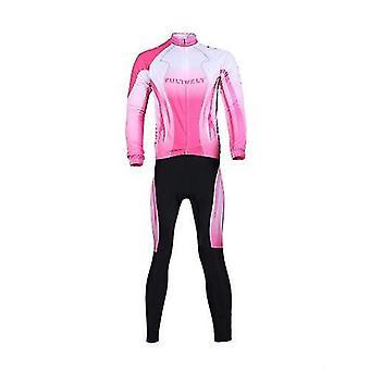 חולצות אופני אופניים אופניים בגדים להגדיר בגדי ספורט בחוץ שרוול ארוך חולצה + מכנסיים ארוכים נושמים לנשים