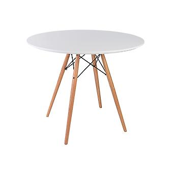Fusion Living Eiffelinspirerad set – mellanvitt cirkulärt matbord med bokträben med två stolar - olika färger