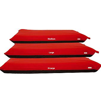 (Large    [10cm x 76cm x 114cm]) Red Fleece Dog Bed 10cm Foam Rectangle Mattress