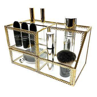 OnDisplay Penelope Deluxe Glass / Golden Steel Cosmetic / Desktop Organization Station - Perfekt för fåfänga, badrum, kontor eller skrivbord - Klassisk mångsidig organisatör