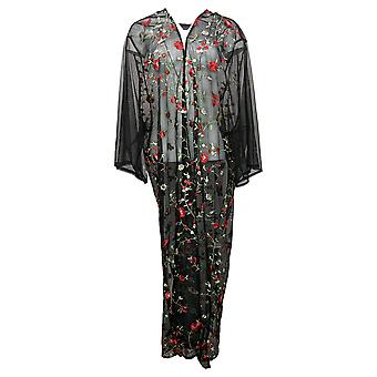 Colleen Lopez Women's Top Embroidered Mesh Duster Cardigan Black 648168