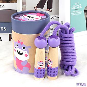 Children's Wooden Elementary School Sports Kindergarten Beginner Boys And Girls Skipping Rope Wooden Handle Cotton Rope Skipping Toy-hippo Style + Wit