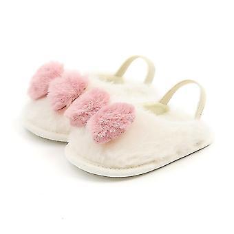 Newborn Baby Crib Shoes Soft Plush Bow Princess Shoes Toddler