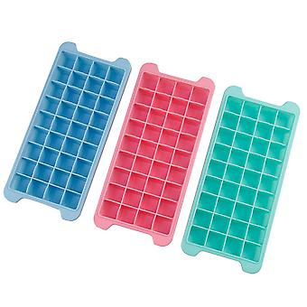 Ice Cube Trays With Lids, 3pack (pink+blue+green) Silicone Ice Cube