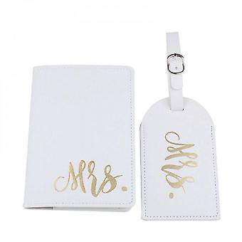 Mr Mrs Passport Cover With Luggage Tags Holder Case Organizer Id Card Travel Protector Organizer
