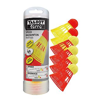 Talbot Torro Speed Badminton Shuttles High Quality 4 Racers & 2 Starters - 6 pcs