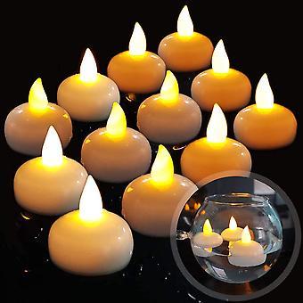 12 LED lángtalan úszó gyertya, vízálló akkumulátor villogó LED tea fények float on water esküvő, party, asztaldísz, Pool Spa (meleg fehér)