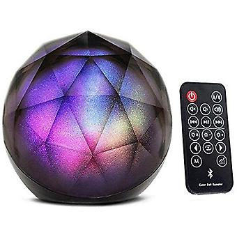 Wireless Mini Led Stereo Dome Speaker With Remote Control, Party Dance Lighting Auxiliary Input Tf Card, Portable Bluetooth Speaker (black)