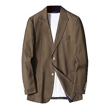 Mile Men's Slim Fit One Button Solid Blazer Business Jacket Casual Suit Coats Dark Khaki