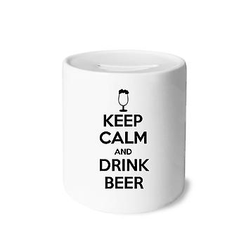 اقتباس الحفاظ على الهدوء وشرب البيرة طباعة السيراميك الخنزير البنك