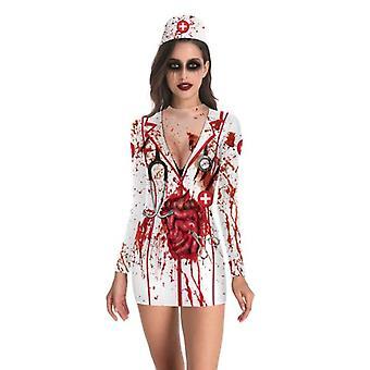 Halloween Bloody Nurse Kostuum Jurk Outfit Nurse Cosplay Dress Up Voor Vrouwen
