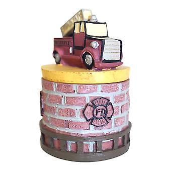 Incendio camion pompiere pompiere eroe Lift Off coperchio Trinket Box