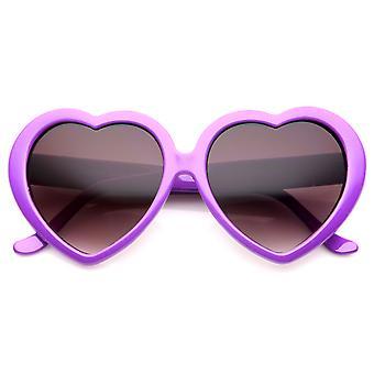 Kvinner Oversize nøytral farge linsen hjerte formet solbriller 55mm