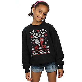 5 Seconds Of Summer Girls Christmas Heart Sweatshirt