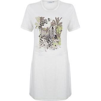 Pastunette 1071-355-3-100 kobiet biały Zebra motyw bawełna noc suknia Gama Piżam Koszula nocna