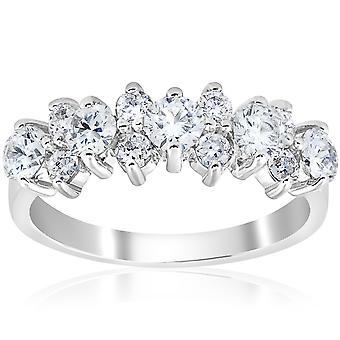 1 1/4 CT Diamant Hochzeit Jahrestag Ring 14K Weissgold