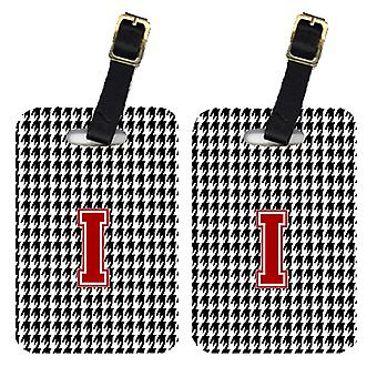 Pair of 2 Monogram - Houndstooth Black Initial I Monogram Initial Luggage Tag