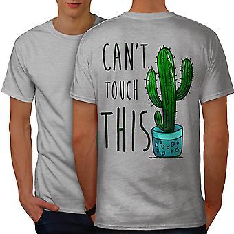 Cactus Funy Men GreyT-shirt Back | Wellcoda