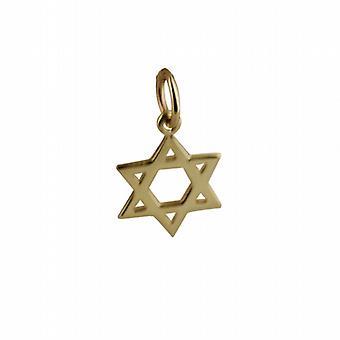 9 قيراط الذهب 12 مم عادي نجمة داود قلادة أو سحر