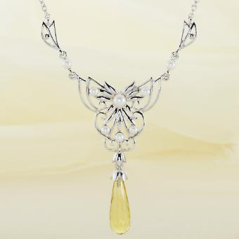 Shipton and Co Ladies Shipton And Co Exclusive Silver And Green & 10ct Yellow Quartz Necklace NQA506GQFP