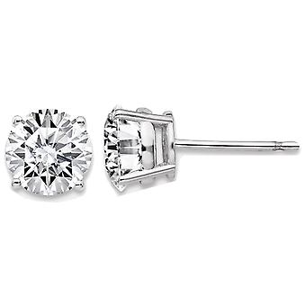 1.94 Carat (ctw) Synthetic Moissanite 6.5mm Solitaire Earrings in 14K White Gold (2.0 Carat Diamond Look)