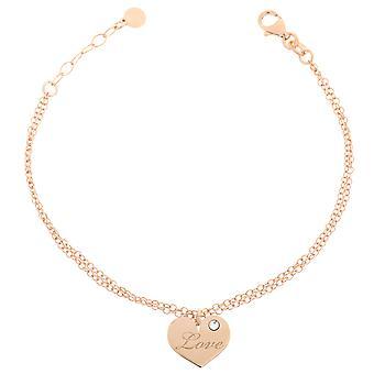 Orphelia Silber 925 Armband Doppelkette Charme Liebe Zirc ZA-7187/RG