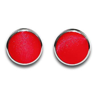 Czerwony zwykły satyna spinki do mankietów