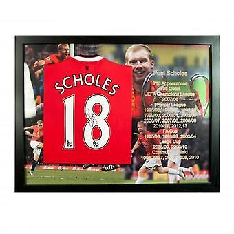 Manchester United Scholes Hemd (eingerahmt) unterzeichnet