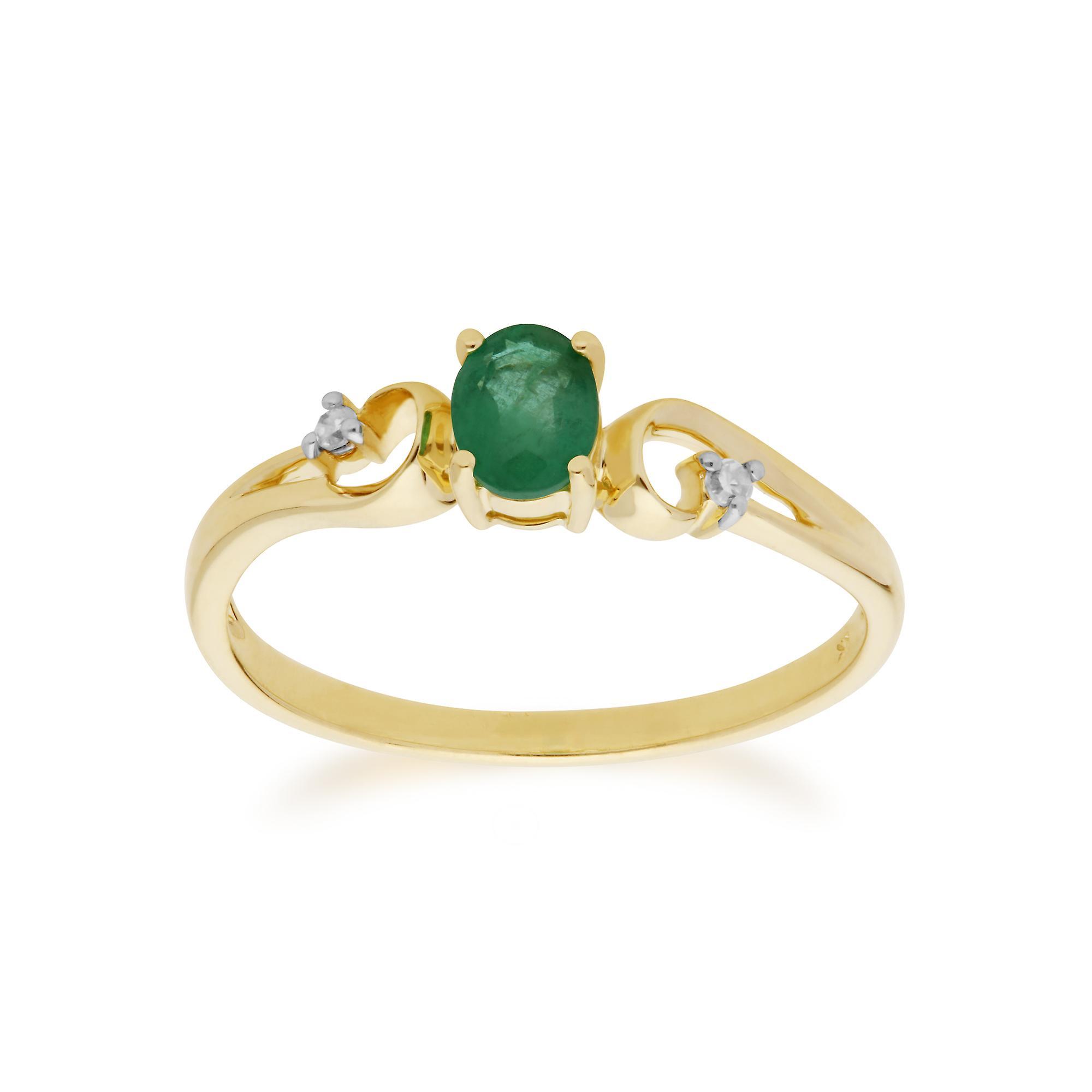 Gemondo 9ct Yellow Gold Emerald & Diamond Classic Dress Solitaire Ring