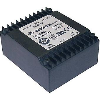 Weiss Elektrotechnik 83/288 PCB mount transformer 2 x 115 V 2 x 21 V AC 24 VA 572 mA