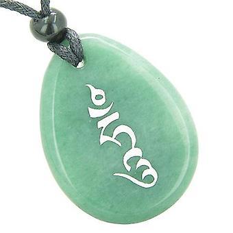 Tibetaanse HUNG Seal wiel van zegen Power Good Luck Amulet groene Aventurine Totem stenen ketting