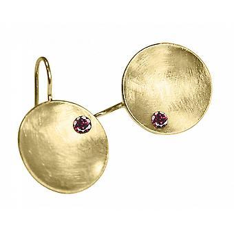 السيدات-حلق-أقراط-925 الفضة-الذهب مطلي-السلطانية-العقيق-أحمر-3 سم