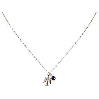 Damer - kjede - anheng - Angels - guardian angel - 925 sølv - safir - blå - 1,3 cm