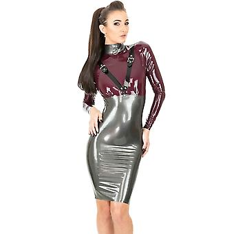 Westward Bound Dom Paramour Dress. Pearl Sheen Pewter With Aubergine Trim.